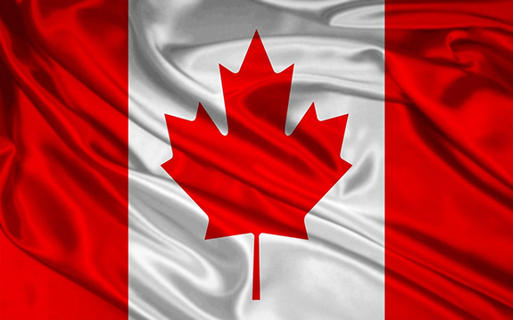 The Canadian flag is rendered in a mottled and distressed style with an irregular border.