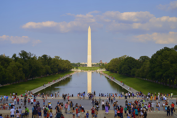 The Washington Monument fills the frame