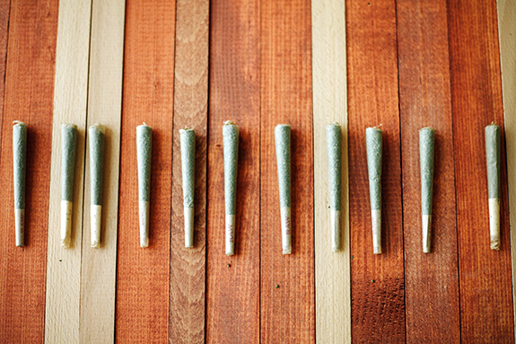 Eleven marijuana pre-roll joints sit on a table of different-colored plants- ranging from golden wood tones to light tans and whites. The joints are lined up next to one another with their wider tips pointing to the top of frame.